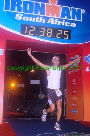 Graham Terblanche crossing the finish line